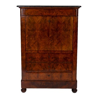 Early 19th Century French Empire Flame Mahogany Drop Front Secretary Desk For Sale