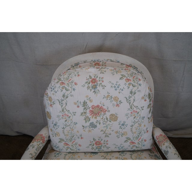 Large French Style Paint Frame Lounge Chair - Pair - Image 5 of 10