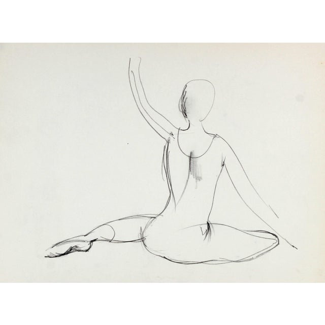 Mid-Century Modern Graphite Study of a Dancer, 1974 For Sale - Image 3 of 3