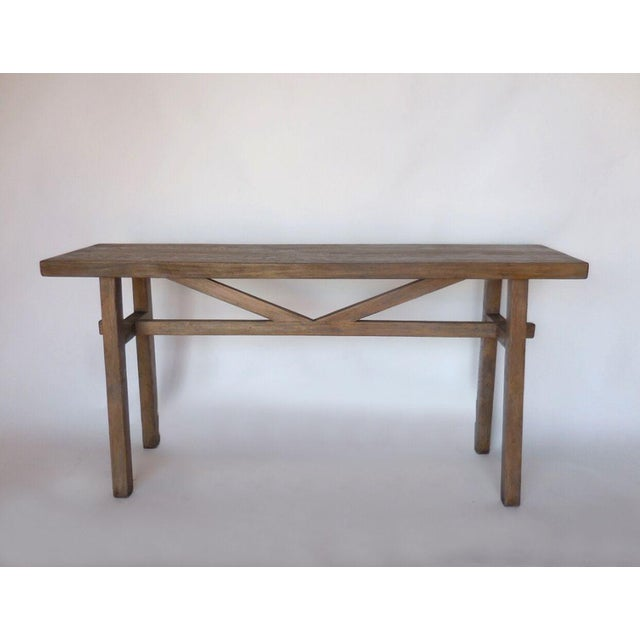 1920s Reclaimed Wood Console with High Stretcher For Sale - Image 5 of 8