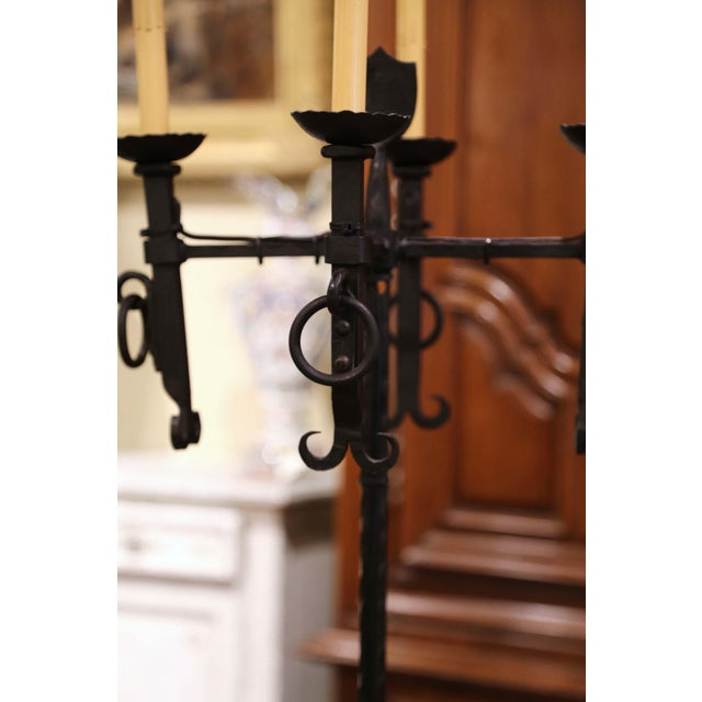 Early 20th Century French Gothic Forged Iron Four-Light Floor Lamp For Sale - Image 9 of 13