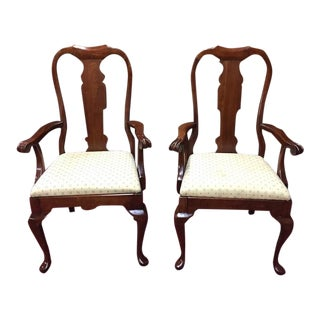 1980s Vintage Pennsylvania House Queen Anne Arm Chairs - a Pair For Sale