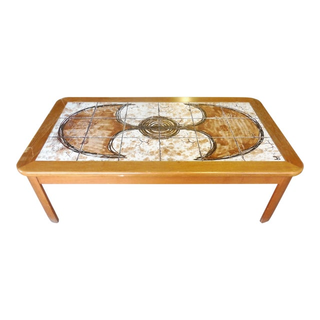 70's Abstract Painted Tile Top Danish Modern Coffee Table Signed For Sale