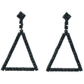 C.1960 Coro Black Rhinestone Triangle Earrings For Sale