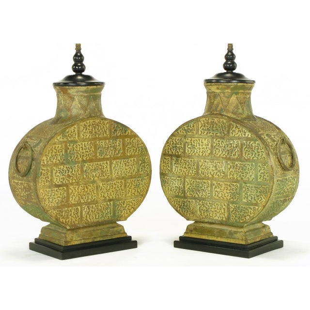 Pair Monumental Bronze Chinese Urn Table Lamps - Image 3 of 9