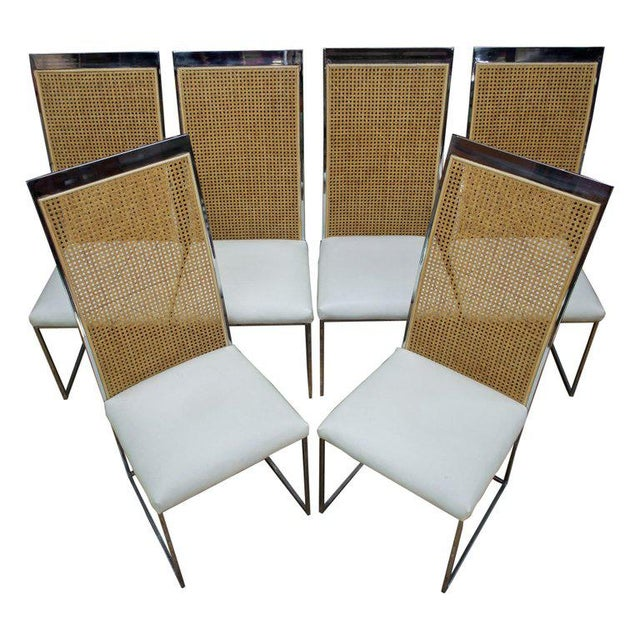 Six 1970s Milo Baughman High Back Cane Chrome Dining Chairs Postmodern Vintage For Sale - Image 11 of 11