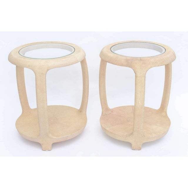 Pair of American Modern Shagreen and Glass Side Tables by Maitland-Smith For Sale - Image 9 of 9