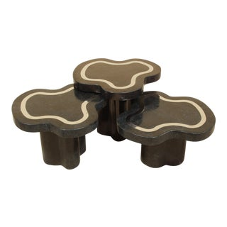 Black Stone With Stainless Steel Water Mushroom Tables - Set of 3
