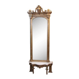 Late 19th Century Victorian Gilt Wood Figural Mirror For Sale