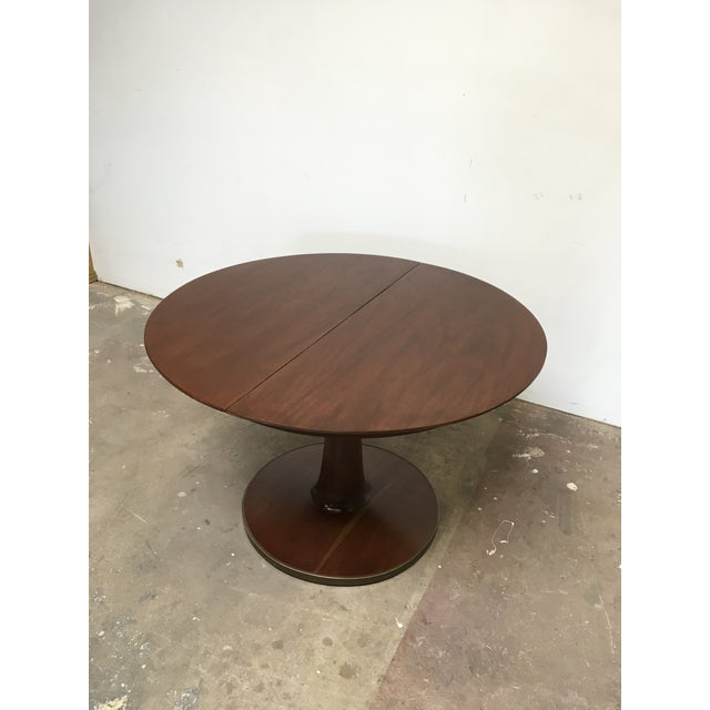 Mid-Century Modern T.H. Robsjohn-Gibbings Expandable Round Mahogany Dining Table For Sale - Image 3 of 13