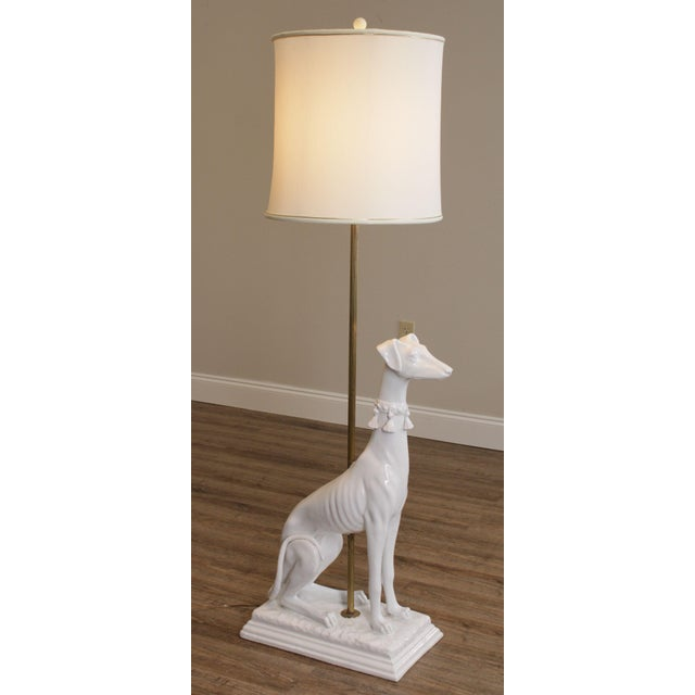Mid Century Italian Pottery White Whippet Greyhound Dog Floor Lamp For Sale - Image 4 of 13