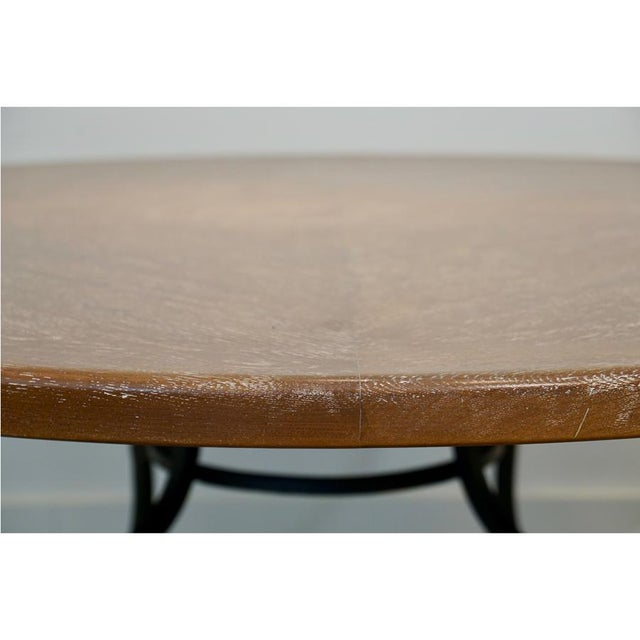 Hollywood Regency 1950s Iron & Oak Ceruse Dining Table For Sale - Image 3 of 5