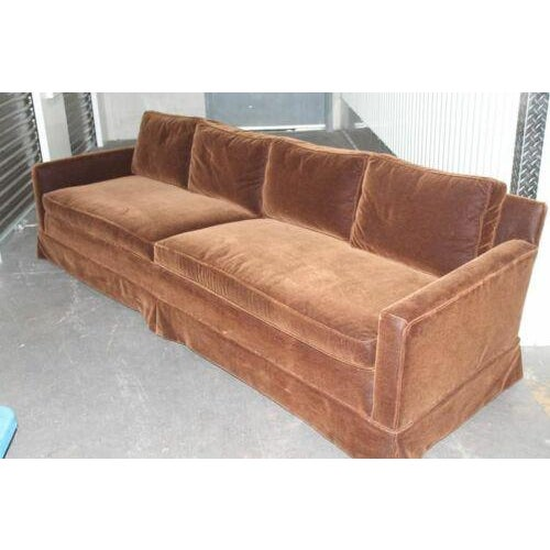 1970s Vintage Newly Reupholstered Chocolate Brown Mohair Sofa For Sale - Image 5 of 8
