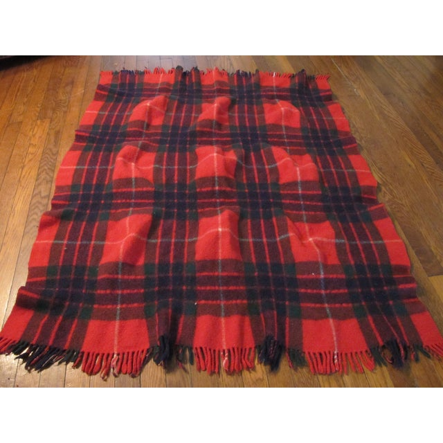 Classic Plaid Wool Blanket For Sale - Image 4 of 5