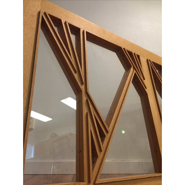"""White Oak and Glass Abstract Architectural Wall Sculpture Titled """"Third Window"""" For Sale - Image 5 of 8"""