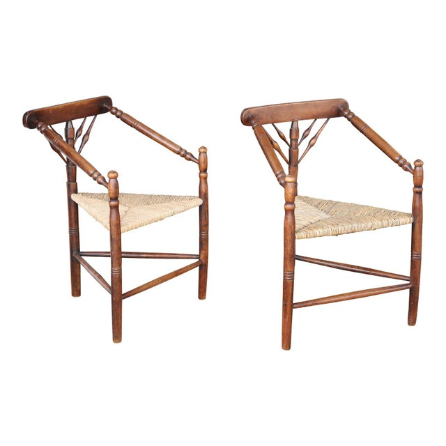 Set of four turner chairs, made by William Birch of High Wycombe (circa 1900-1905). They are an unusual form, probably...