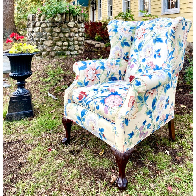 1940s Large Scale English Wingback Chair in Peony Chintz For Sale - Image 5 of 13