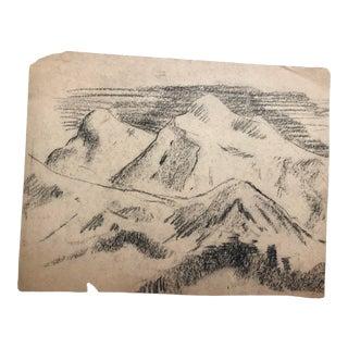 1930s Vintage Eliot Clark Arizona Mountains Plein Air Landscape Drawing For Sale