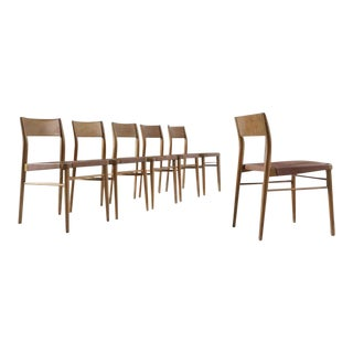 20th Century Italian Beech & Leather Dining Chairs - Set of 6 For Sale