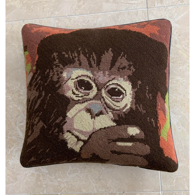 Fiber Vintage Mid Century Monkey Needlepoint Pillow For Sale - Image 7 of 7