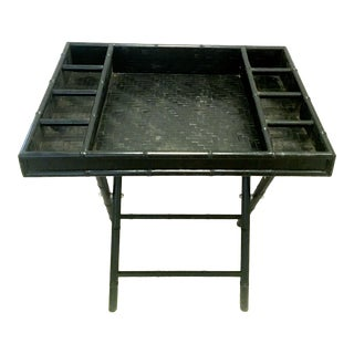 20th Century Campaign Wood & Rattan Faux Bamboo Folding Desk For Sale