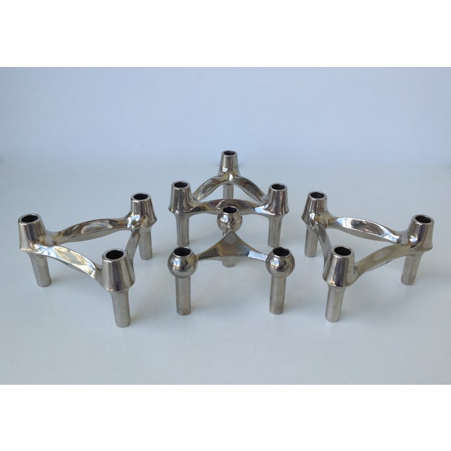Caesar Stoffi Mid-Cenutry Fritz Nagel & Ceasar Stoffi Chrome-Plated Modular Candleholders - S/4 For Sale - Image 4 of 11