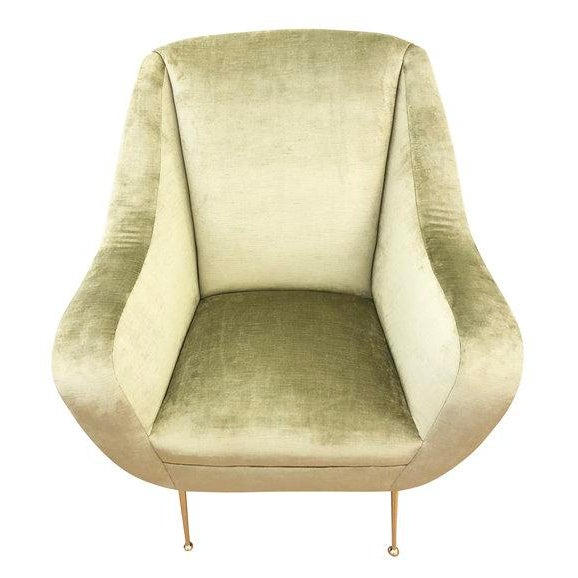 Italian Pair of Light Green Mid-Century Lounge Chairs For Sale - Image 3 of 8
