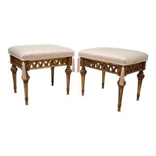 Neoclassical Italian Giltwood Stools, A Pair