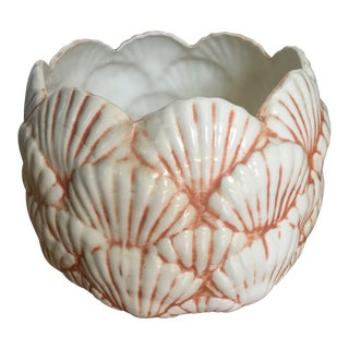 1980's Boho Chic Orange and White Shell Planter