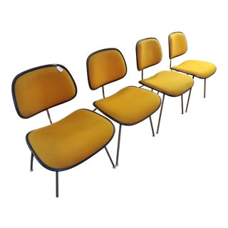 Eames Herman Miller Gold Upholstered Shell Side Chairs - Set of 4