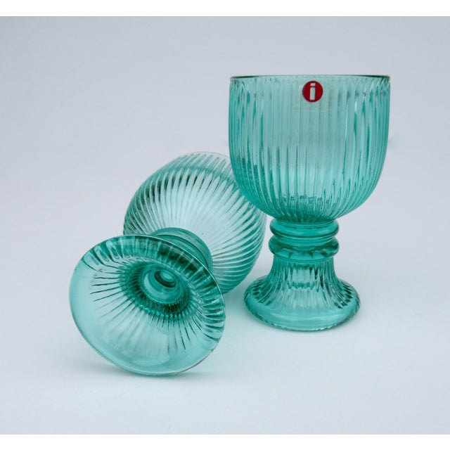 Green Vintage l'Ittala Crystal Round Fluted Mint Cordial Glasses - Set of 2 For Sale - Image 8 of 13