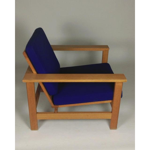 Blue 1980s Frederecia Furniture Soren Holst Danish Oak Lounge/Easy Chair For Sale - Image 8 of 10