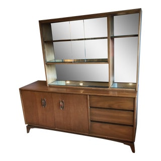 Mid-Century Modern Glass Doors Mirrored Dining Room China Cabinet 2 Piece Hutch