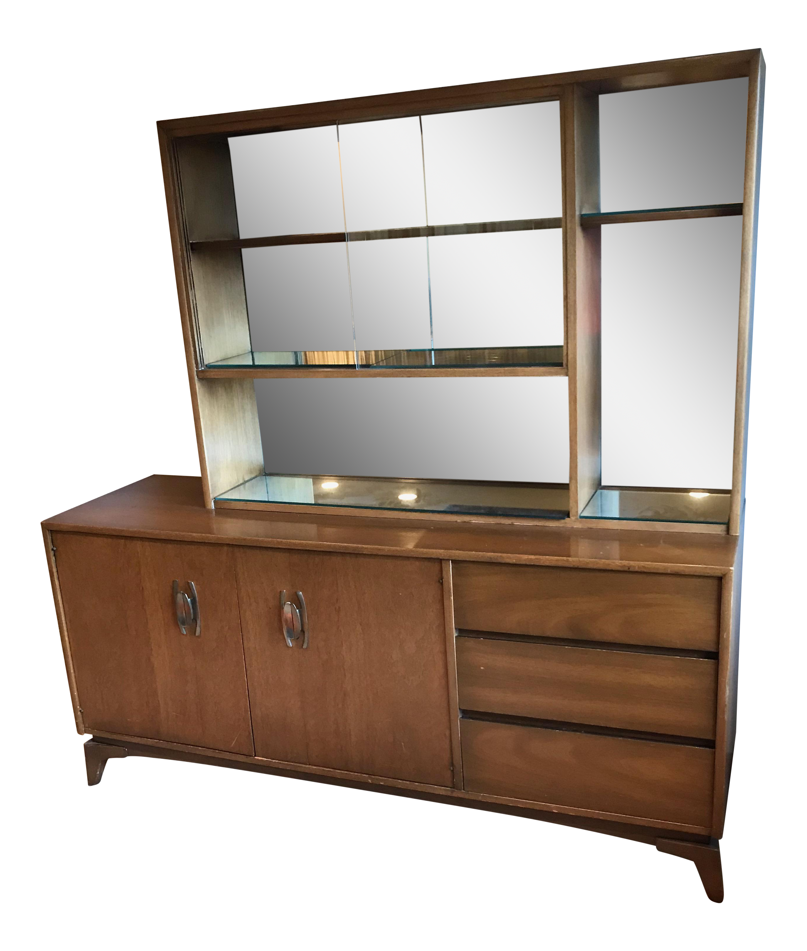 Mid Century Modern Glass Doors Mirrored Dining Room China Cabinet 2 Piece  Hutch
