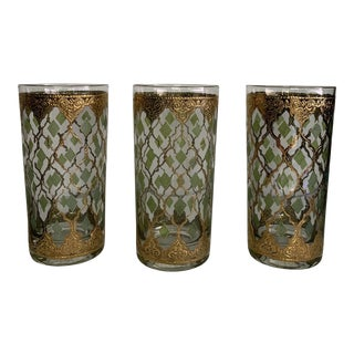 Mid Century Valencia by Culver Drinking Glasses - Set of 3 For Sale
