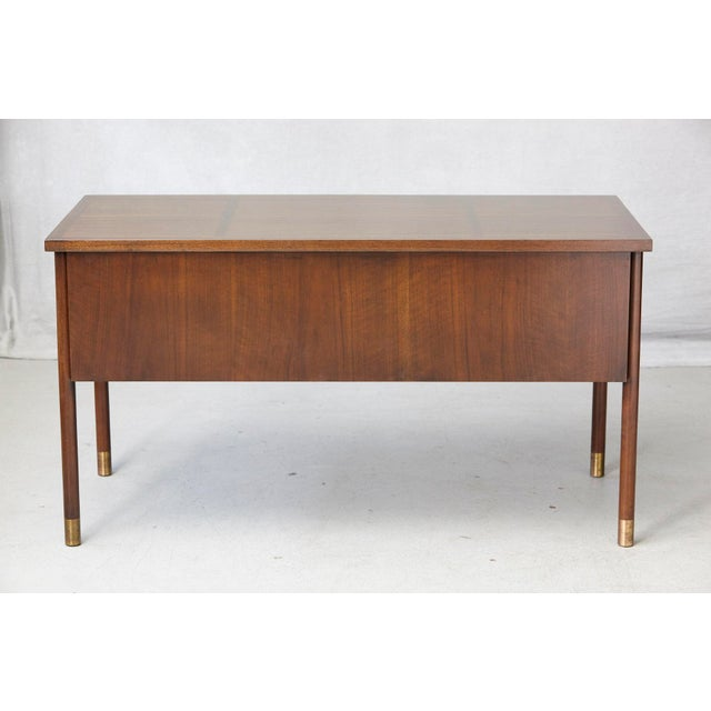 Mid-Century Modern Walnut Desk With Graphic Wood Work and Brass Hardware, 1970s For Sale - Image 3 of 12