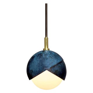 Benedict Pendant in Prussian Blue, Polished & Blackened Brass Details With Opal Glass For Sale