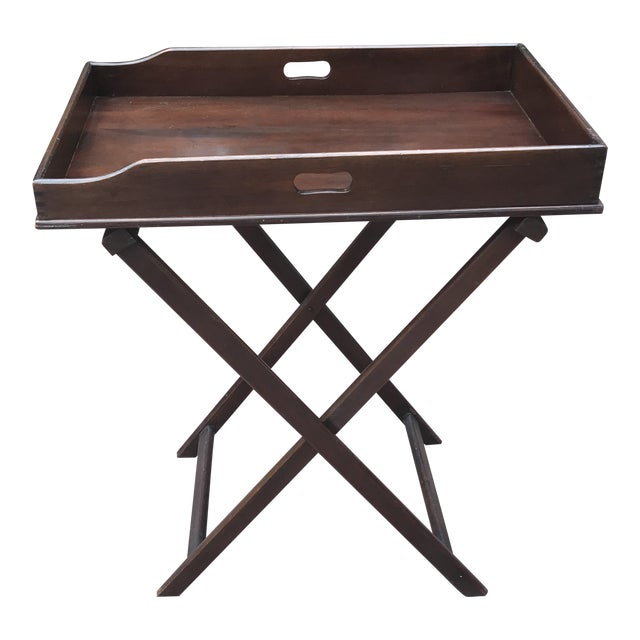 English Butlers Tray on Folding Stand, Perfect for Bar Setup For Sale
