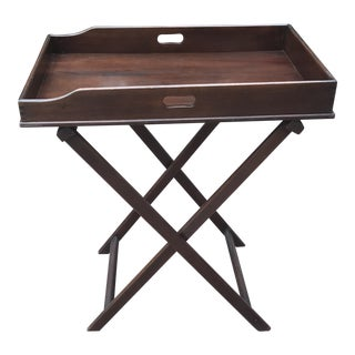 Pre War Campaign Style Mahogany Butlers Tray on Stand For Sale