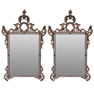Late 20th Century Vintage Mirror Fair French Walnut Mirrors - a Pair For Sale