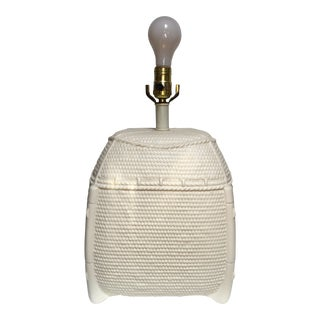 1980s White Ceramic Faux Wicker Basket Lamp