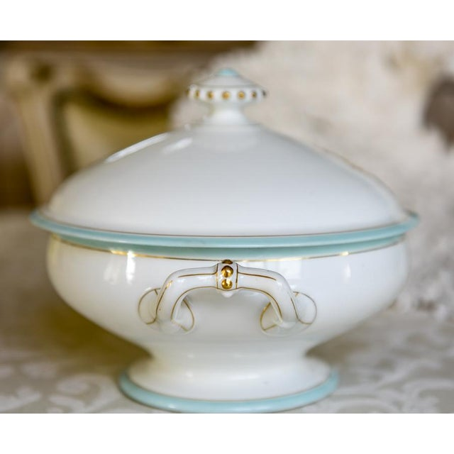 French Antique French Porcelain Monogrammed Tureen For Sale - Image 3 of 5