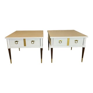 A Pair of American of Martinsville End Tables With Drawers For Sale