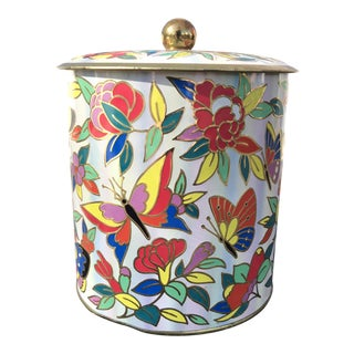 1960s Cottage Butterfly Decorative Tin For Sale