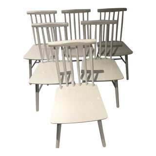 White All Wood Dining Chairs - Set of 6