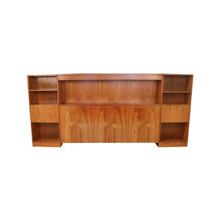 Danish Modern Lighted Teak Headboard With Integral Storage Nightstands For Sale