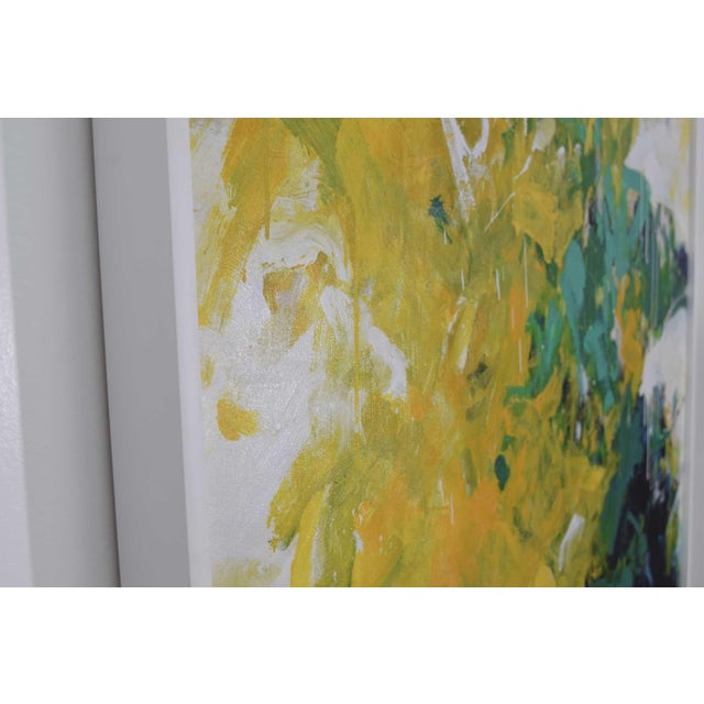 Abstract Blue and Yellow Colorful Art For Sale - Image 4 of 11