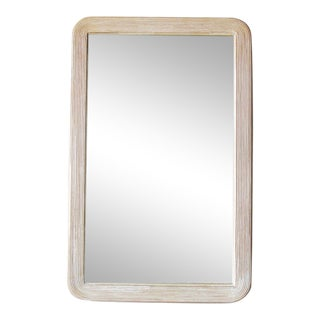 1980s Vintage White-Washed Rattan Mirror For Sale
