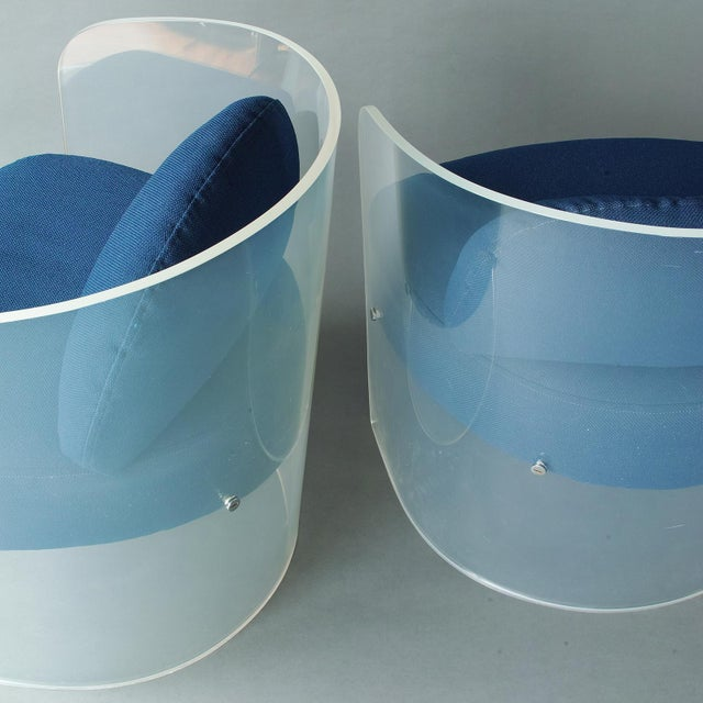 Space Age Lucite Barrel Lounge Chairs - a Pair For Sale - Image 11 of 13