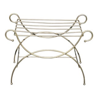Vintage Mid-Century Modern Gold Luggage Stand For Sale